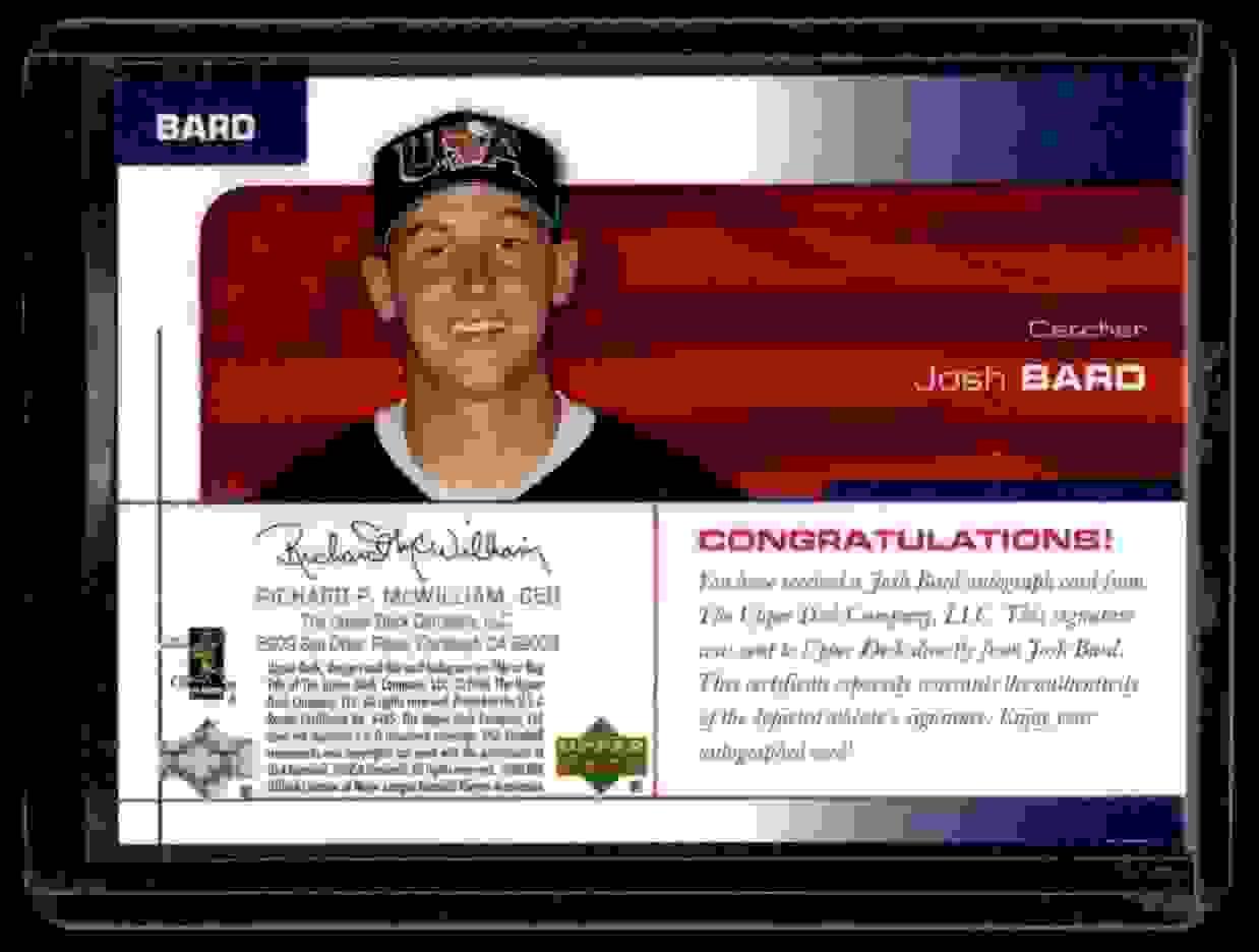 2004 USA Baseball 25th Upper Deck USA Baseball 25-Year Anniversary Signatures Josh Bard #BARD card back image