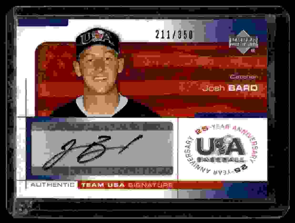 2004 USA Baseball 25th Upper Deck USA Baseball 25-Year Anniversary Signatures Josh Bard #BARD card front image