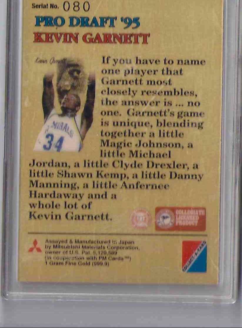 1995-96 Pro Draft '95 1 Gram Fine Gold 999.9 Kevin Garnett #NNO card back image