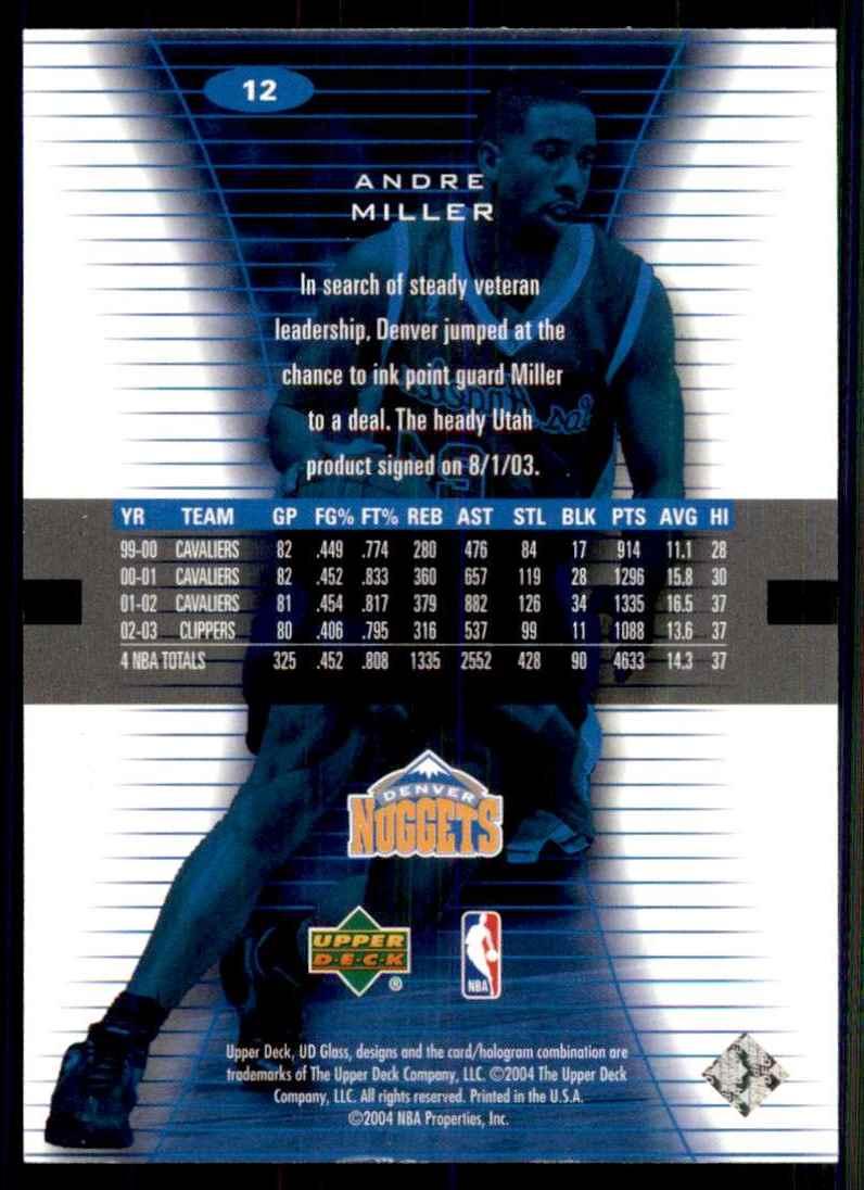 2003-04 UD Glass Andre Miller #12 card back image