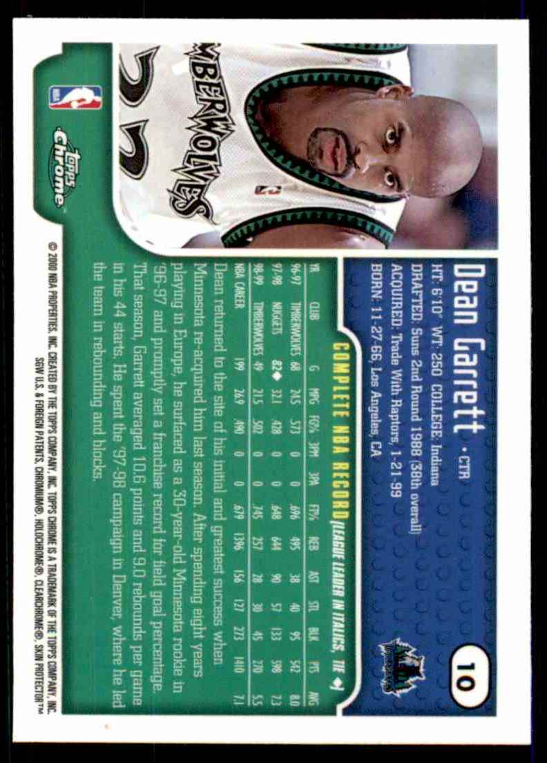 1999-00 Topps Chrome Dean Garrett #10 card back image