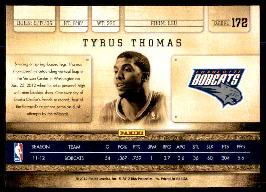 2011-12 Panini Gold Standard Tyrus Thomas #172 card back image