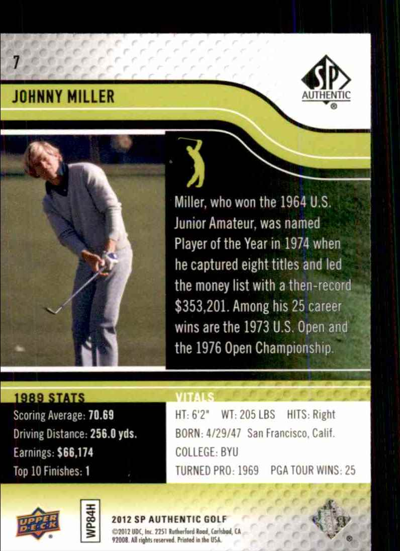 2012 SP Authentic Johnny Miller #7 card back image
