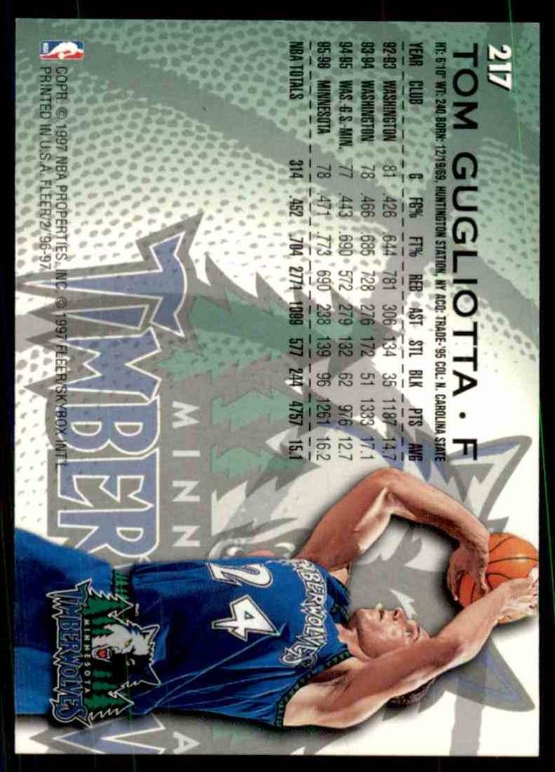 1996-97 Fleer Tom Gugliotta #217 card back image