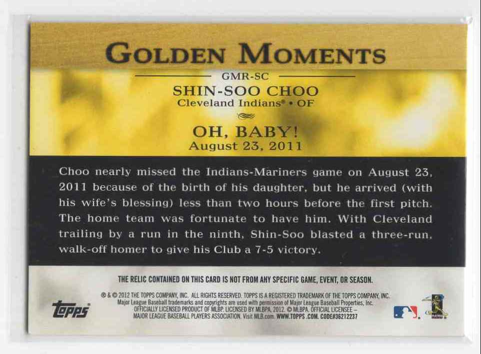 2012 Topps Golden Moments Shin-Soo Choo #GMR-SC card back image