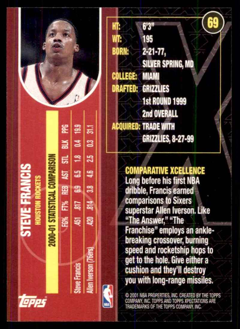2001-02 Topps Xpectations Steve Francis #69 card back image