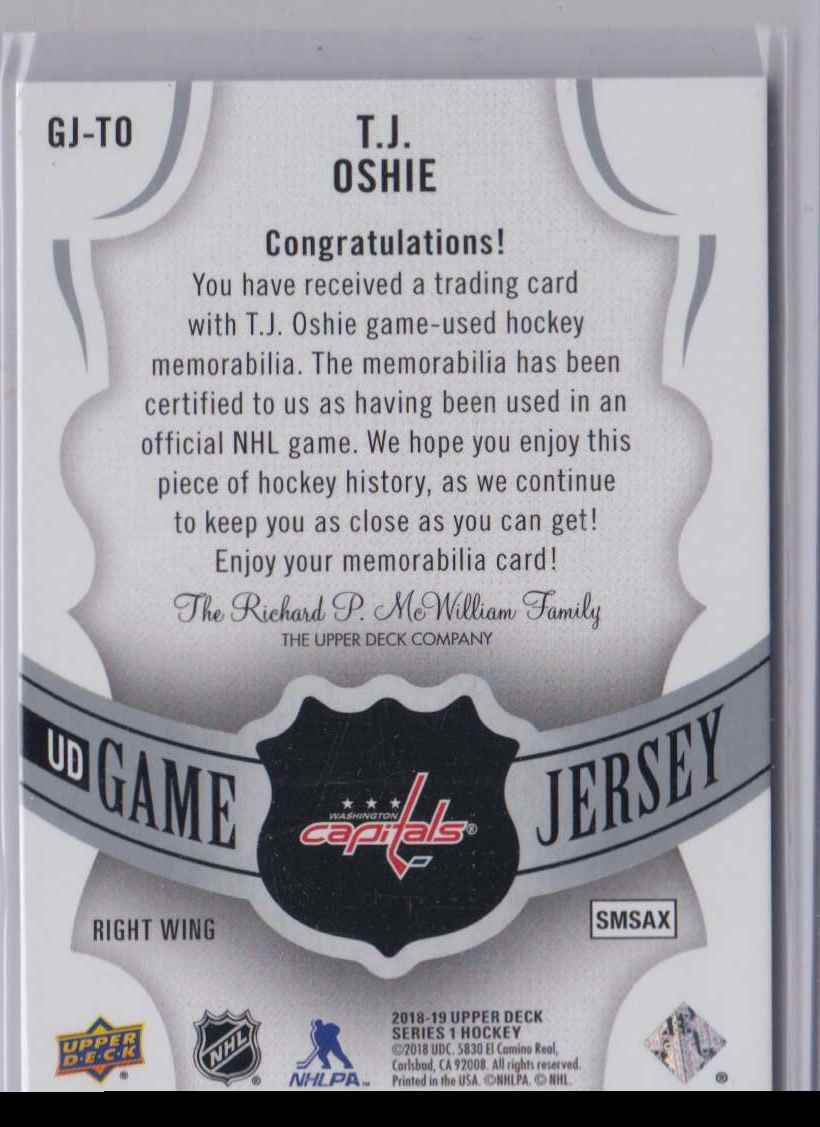 2018-19 Upper Deck Game Jerseys T.J Oshie #GJ-TO card back image