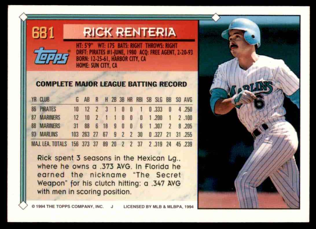 1994 Topps Rick Renteria #681 card back image