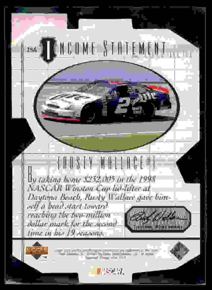 1999 Upper Deck Victory Circle Income Statement Rusty Wallace #IS4 card back image