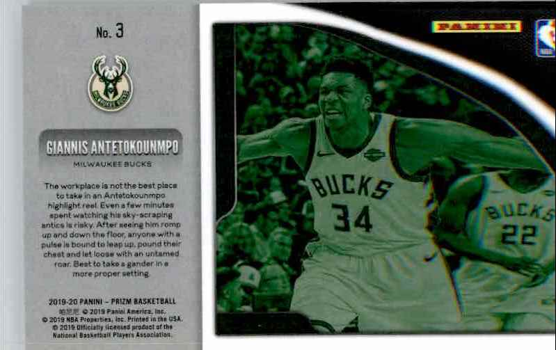 2019-20 Panini Prizm Basketball Prizm Giannis Antetokounmpo #3 card back image