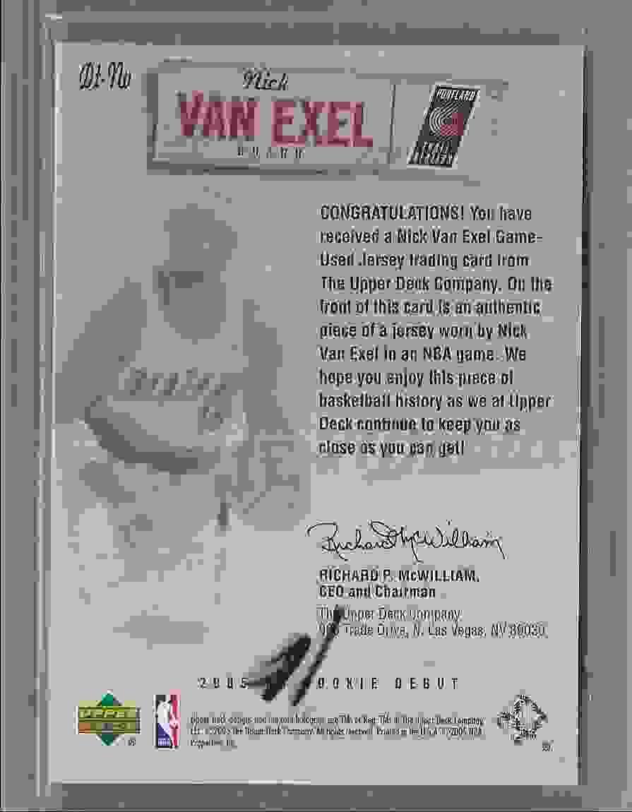 2005-06 Upper Deck Rookie Debut Threads Nick Van Exel #NV card back image