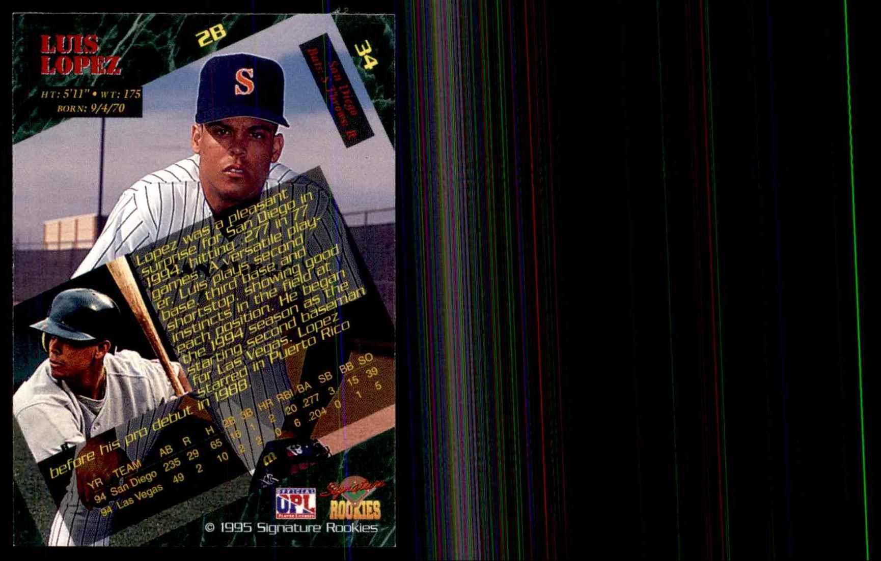 1995 Signature Rookies Luis Lopez #34 card back image