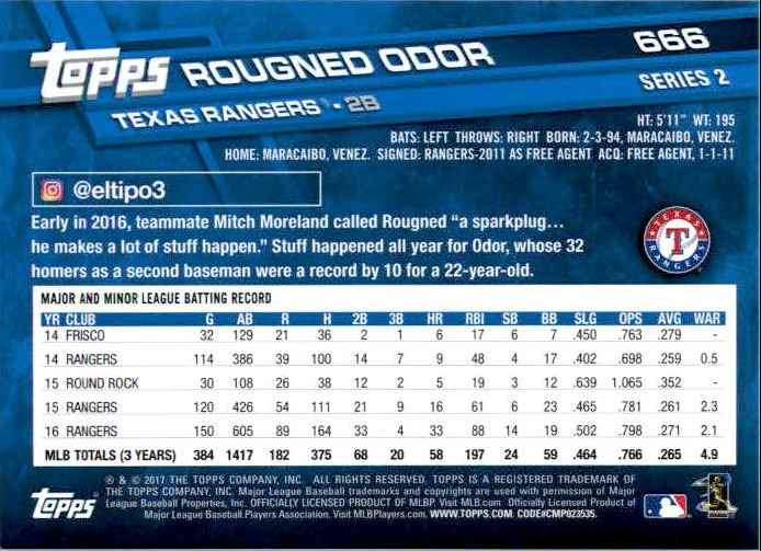 2017 Topps Series 2 Rougned Odor #666 card back image
