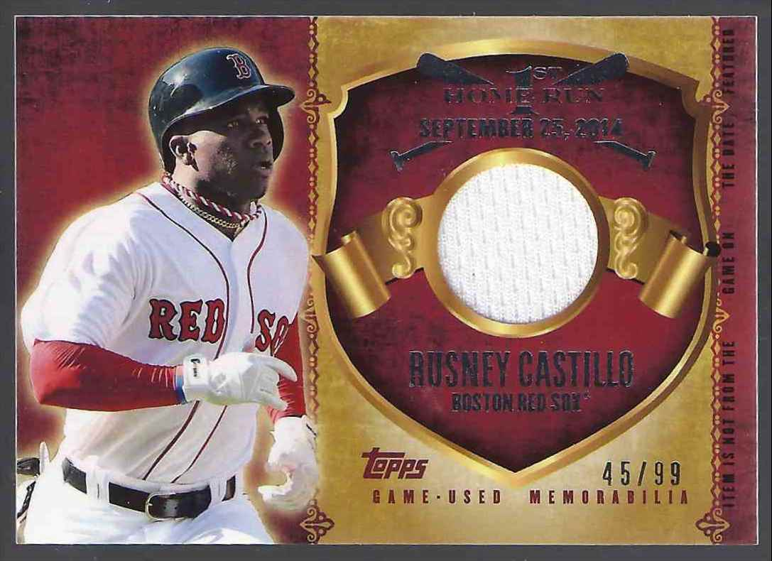 2015 Topps First Home Run Relics Rusney Castillo S2 #FHRRRC card front image