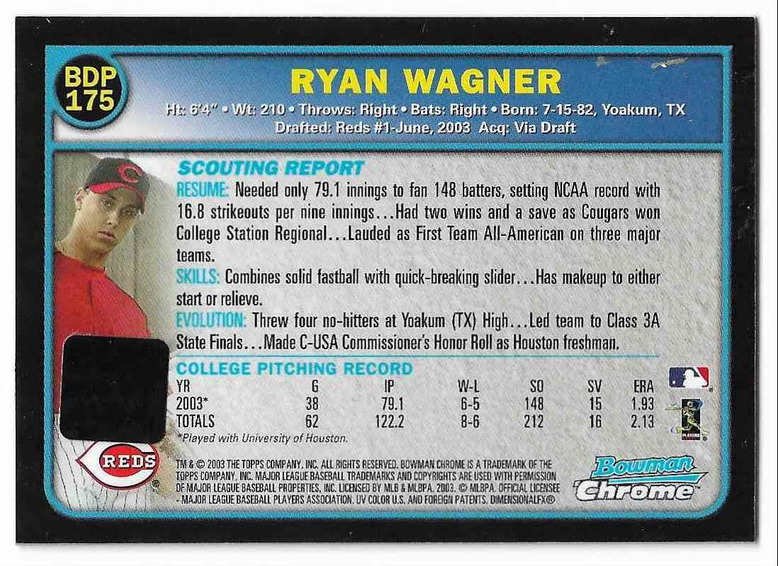 2003 Bowman Chrome Draft Picks & Prospects Ryan Wagner #BDP175 card back image