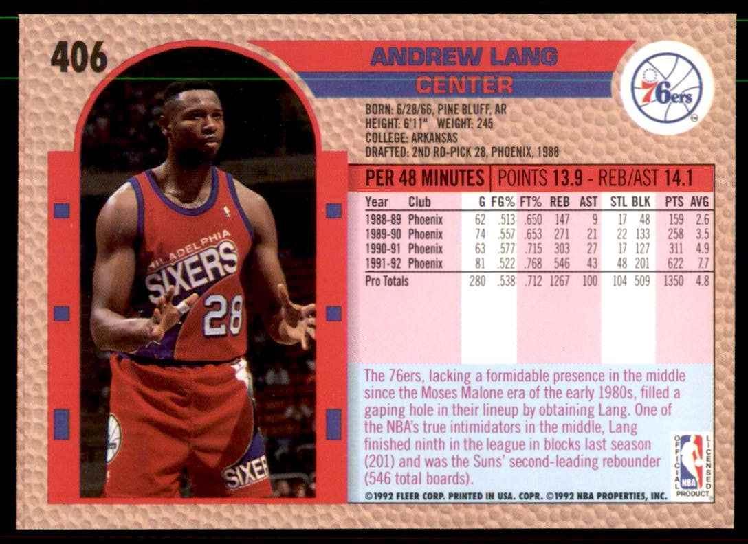 1992-93 Fleer Andrew Lang #406 card back image