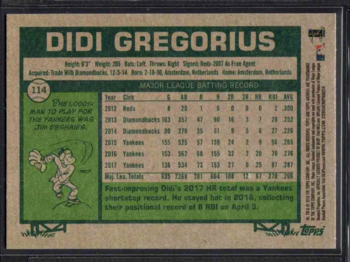 2018 Topps Archives DIDI Gregorius #114 card back image