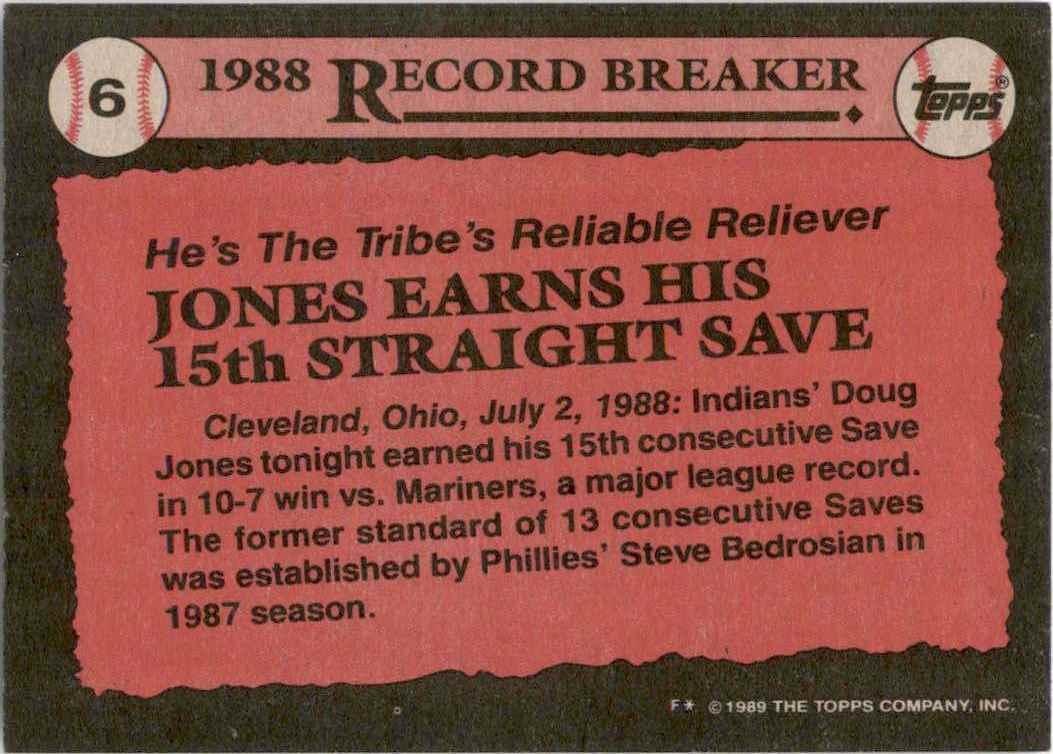 1989 Topps Doug Jones Rb UER/Earns His 15th/Straight Save//Photo Actually Chris Codiroli #6 card back image