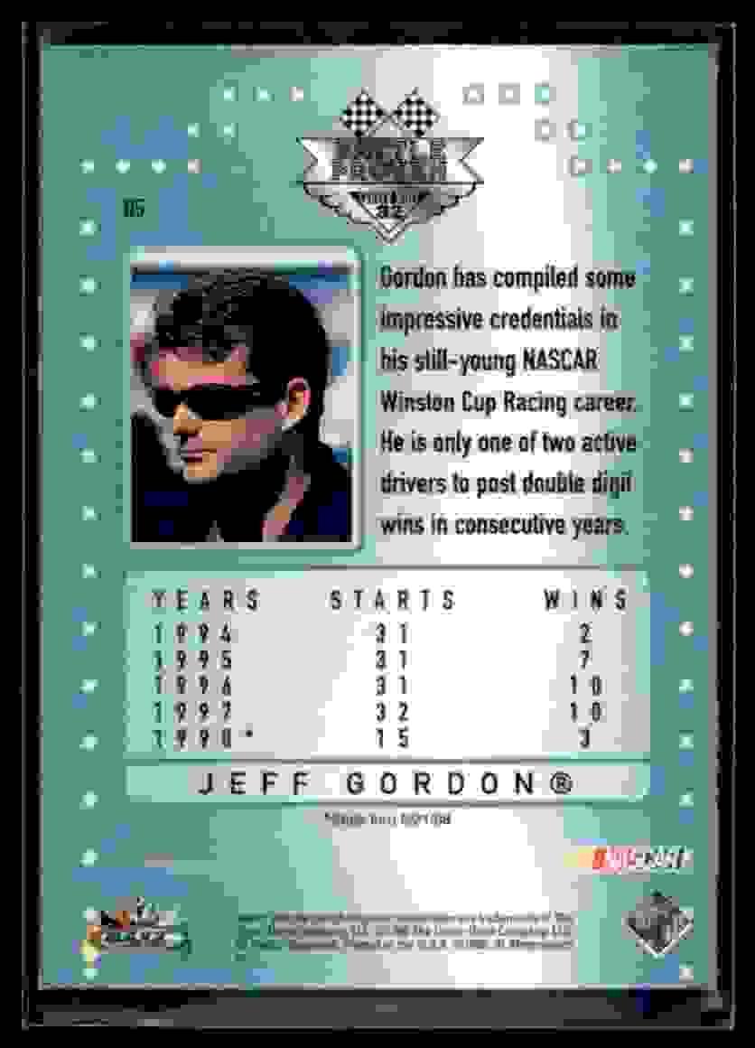 1998 Upper Deck Maxximum Battle Proven Jeff Gordon #B5 card back image