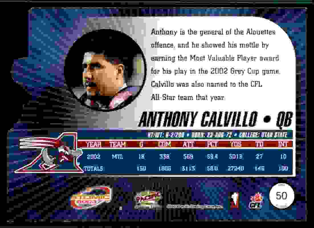 2003 Atomic CFL Red Anthony Calvillo #50 card back image