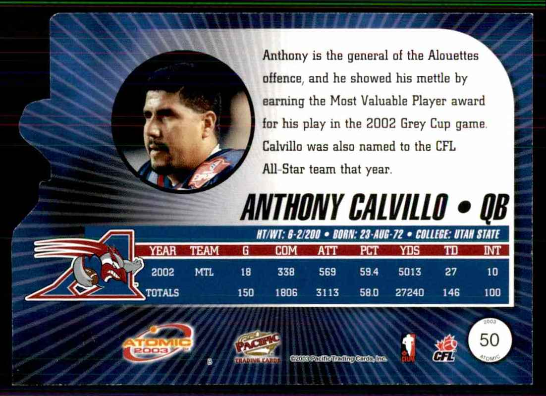 2003 Atomic CFL Red Anthony Calvillo #50 card back image