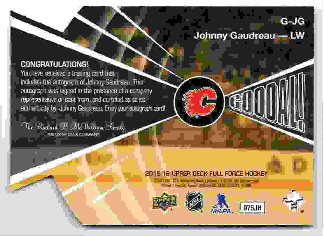 2015-16 Full Force Goooal! Autograph Johnny Gaudreau #G-JG card back image