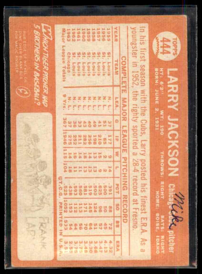 1964 Topps Larry Jackson #444 card back image