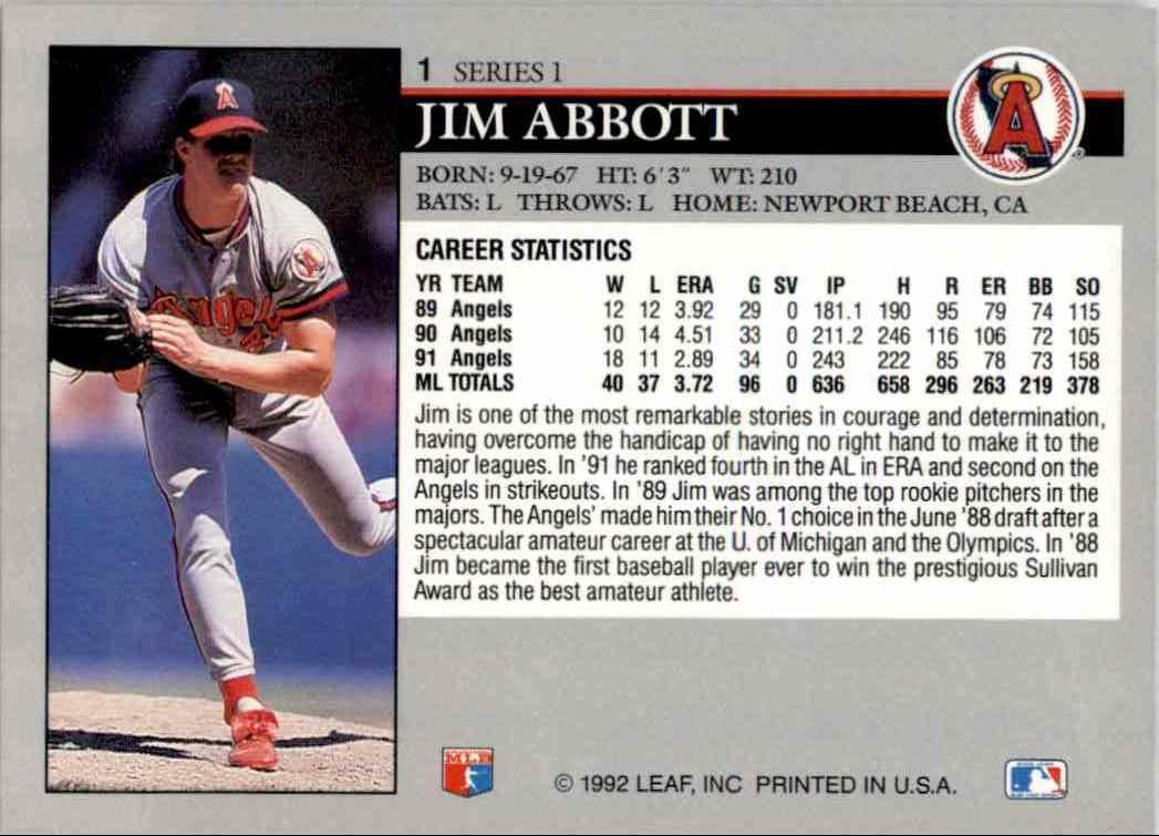 1992 Leaf Jim Abbott #1 card back image