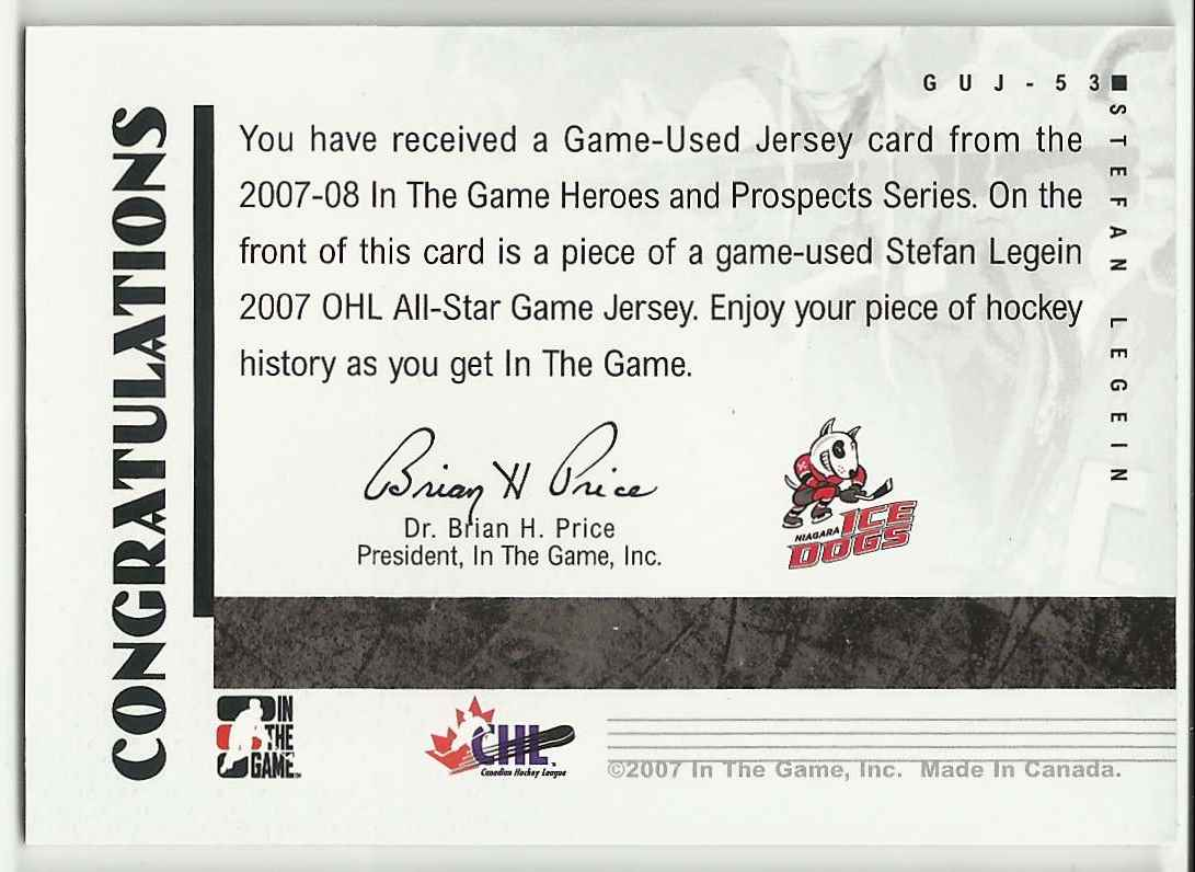 2007-08 In The Game Heroes And Prospects Jerseys Stefan Legein #53 card back image