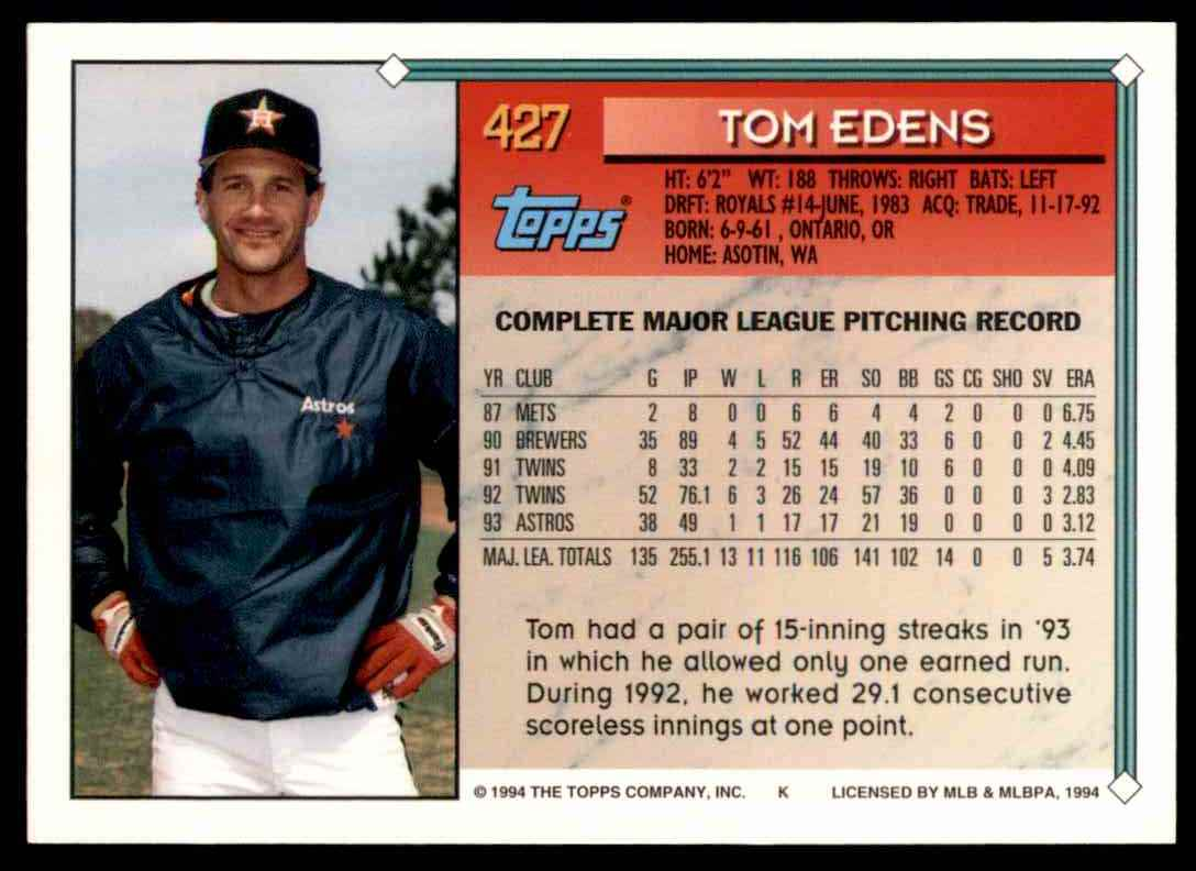 1994 Topps Gold Tom Edens #427 card back image
