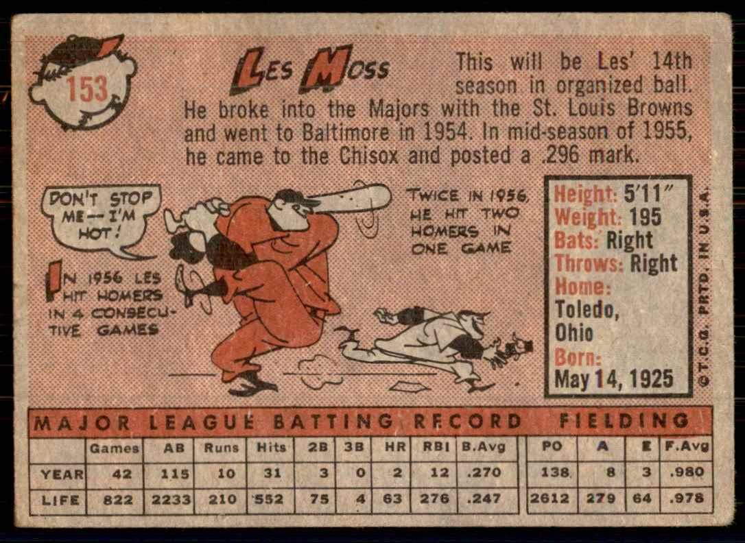 1958 Topps Les Moss #153 card back image