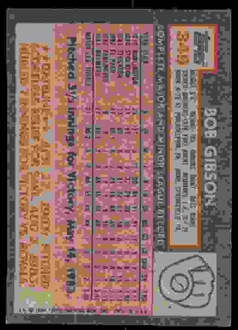 1984 Topps Bob Gibson #349 card back image