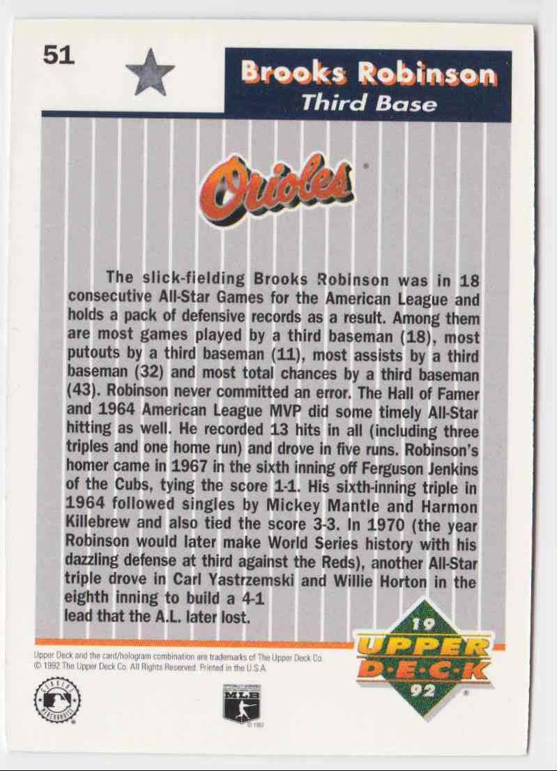1992 Upper Deck All-Star Heroes Brooks Robinson #51 card back image
