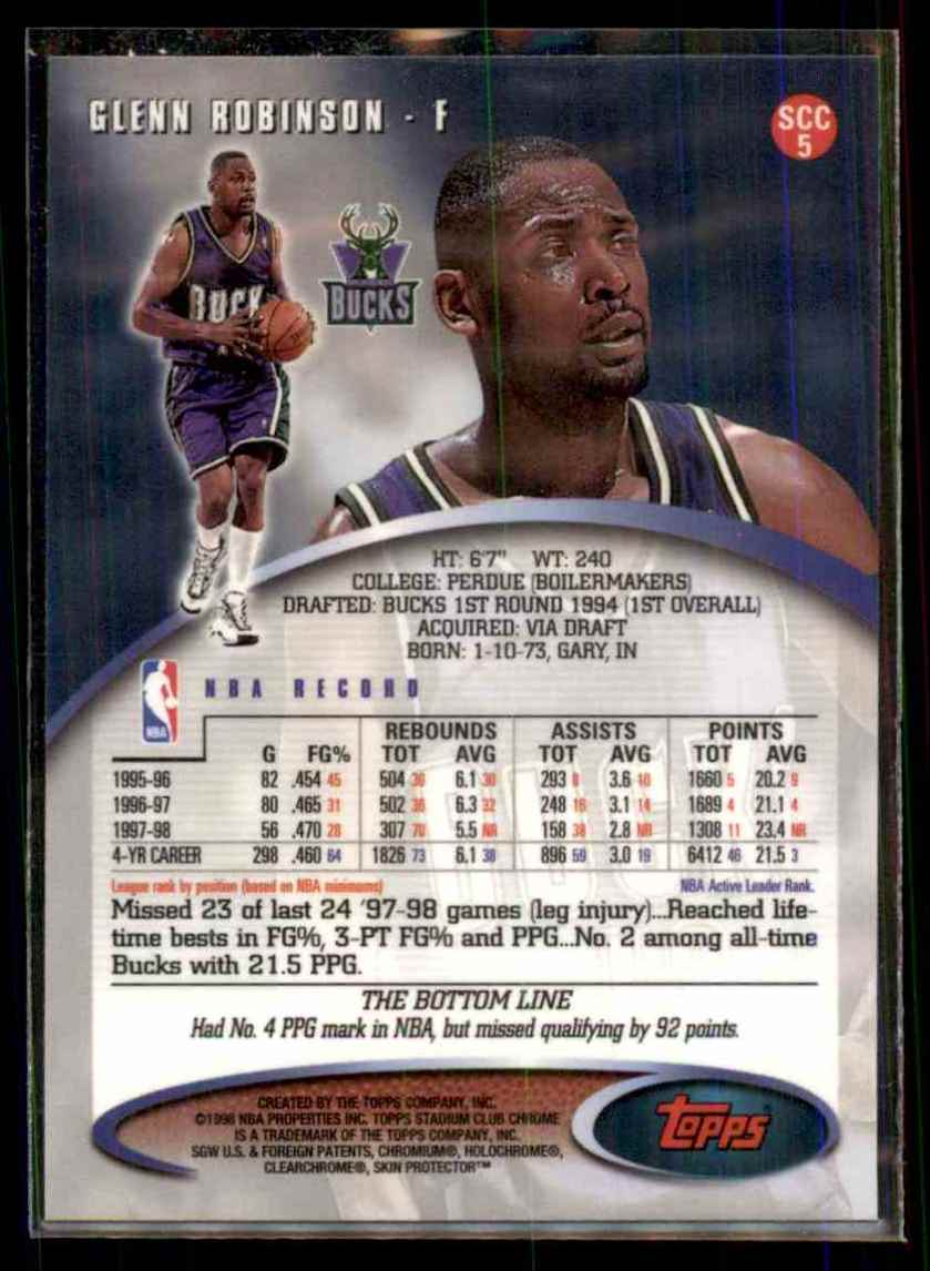 1998-99 Stadium Club Chrome Glenn Robinson #SCC5 card back image