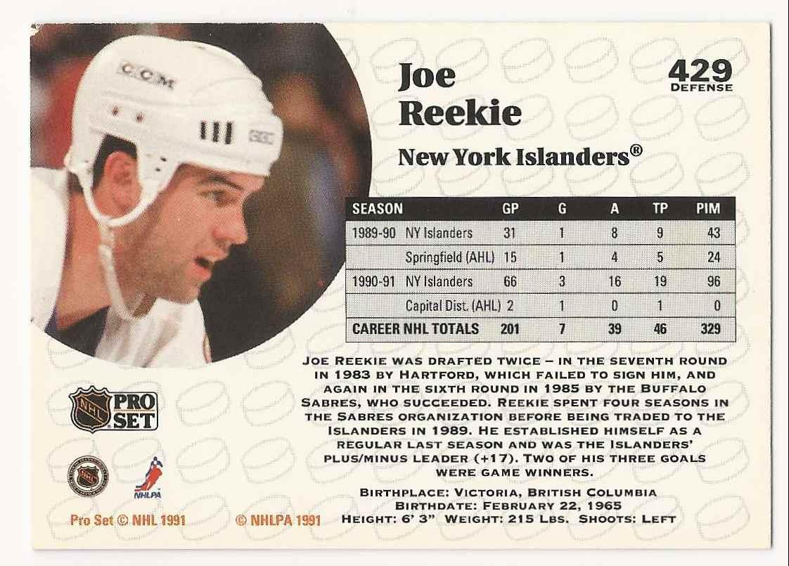 1991-92 Pro Set Joe Reekie #429 card back image