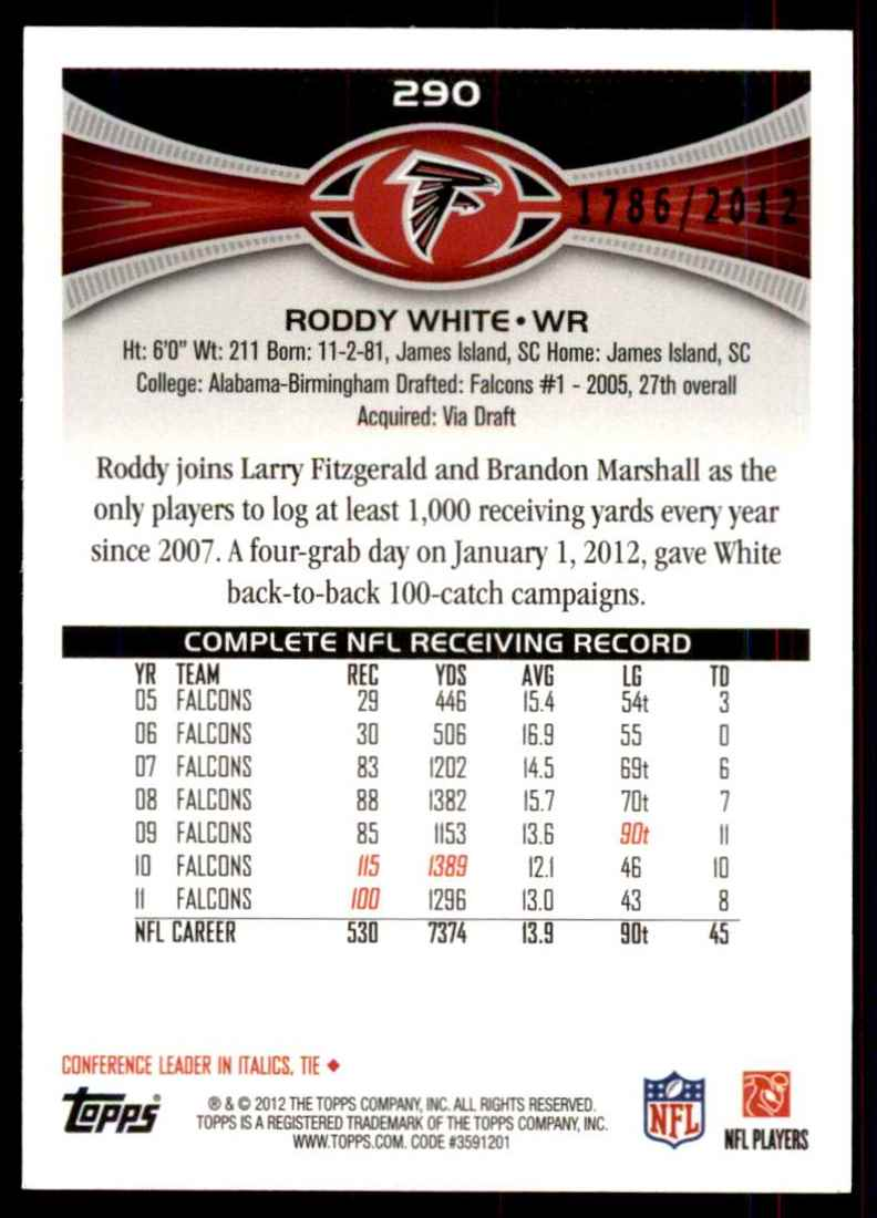 2012 Topps Gold Roddy White #290 card back image