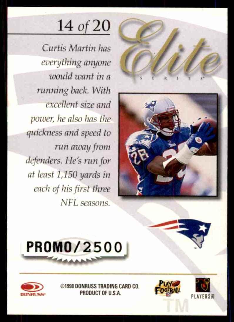 1998 Donruss Elite Promos Curtis Martin #14 card back image