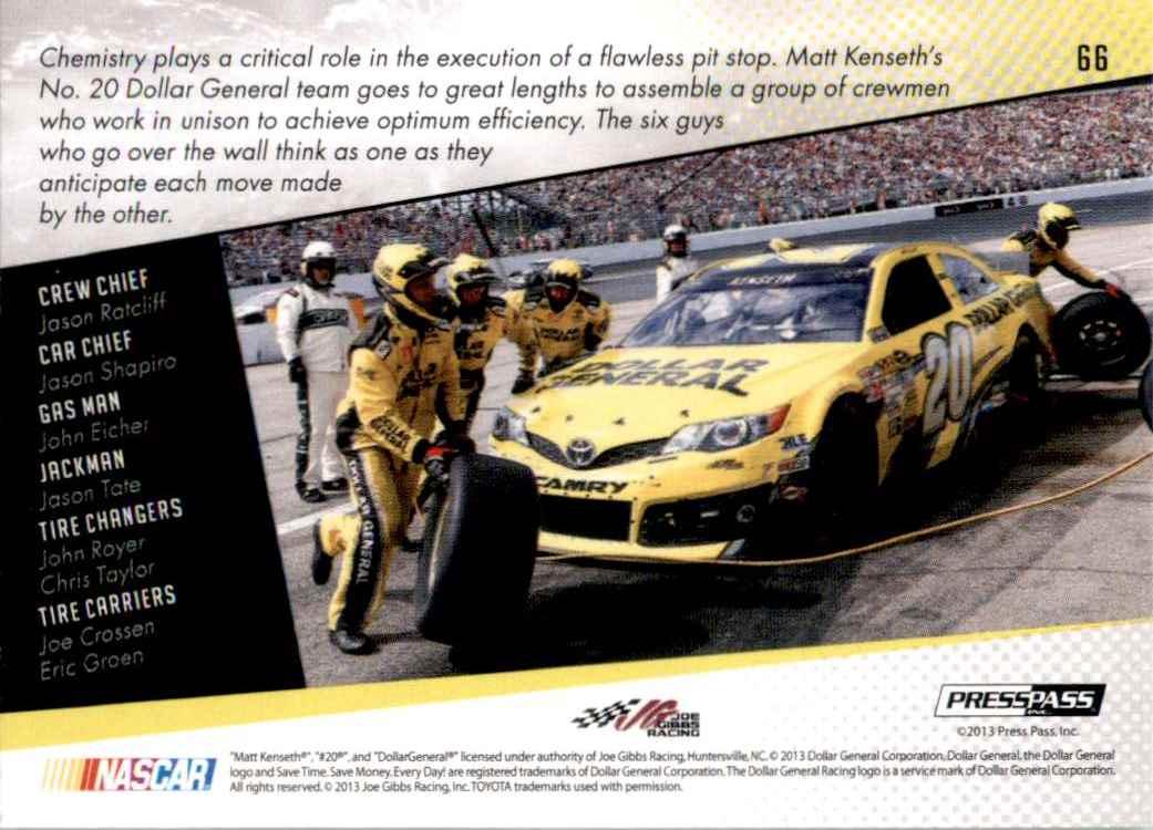 2014 Press Pass Matt Kenseth's Car Gc #66 card back image