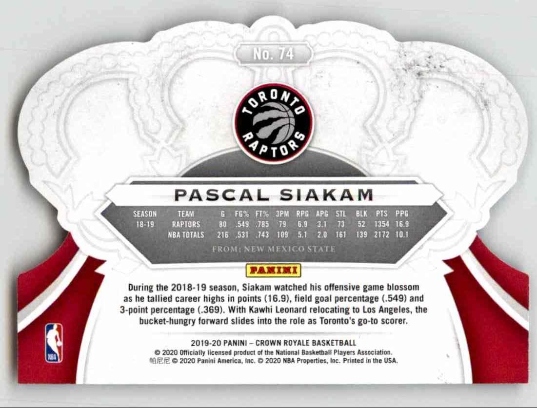 2019-20 Crown Royale Pascal Siakam #74 card back image