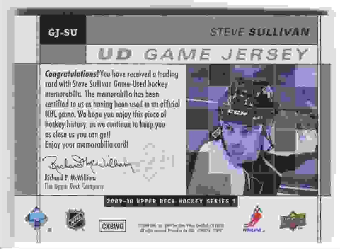 2009-10 Upper Deck Game Jersey Steve Sullivan #GJ-SU card back image