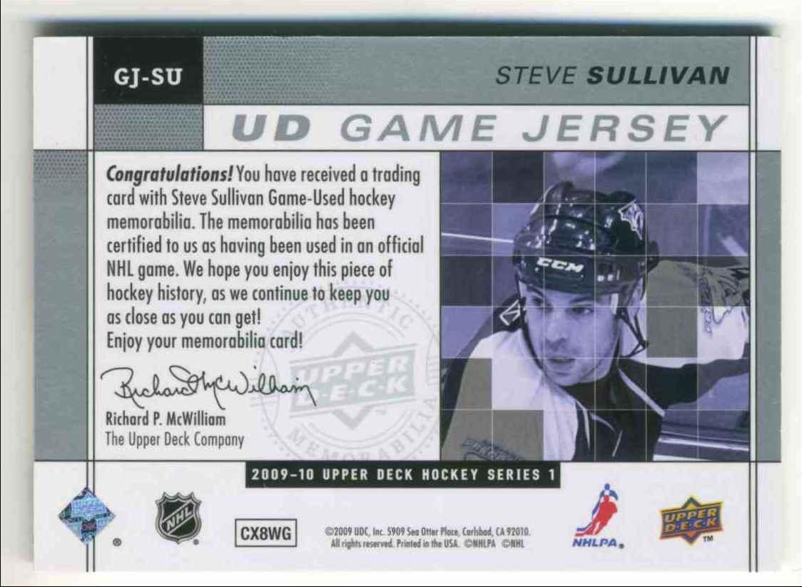 2009-10 Upper Deck Game Jersey Steve Sullivan #GJ-SU card back image