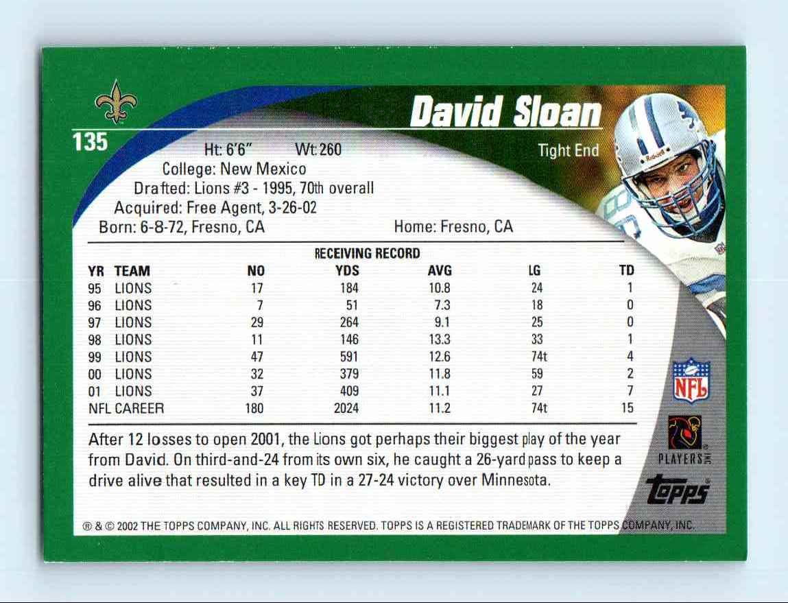 2002 Topps David Sloan #135 card back image