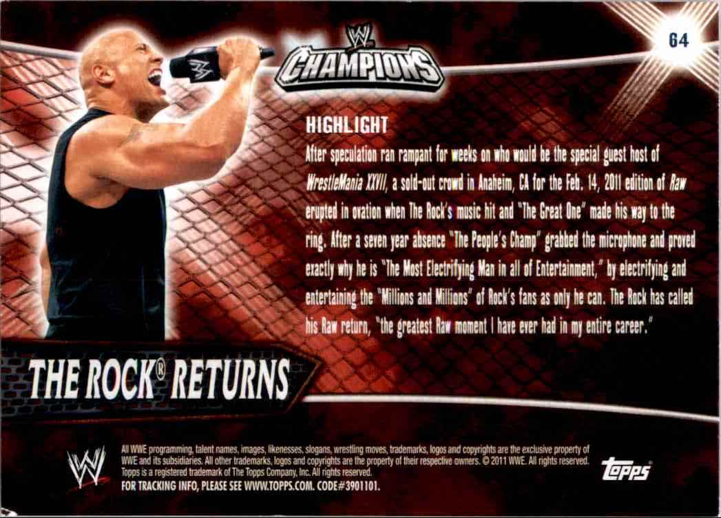 2011 Topps Wwe Champions The Rock Returns #64 card back image