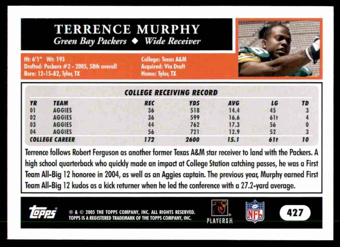 2005 Topps Terrence Murphy RC #427 card back image