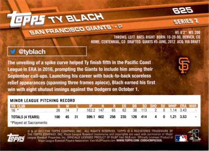 2017 Topps Series 2 Ty Blach #625 card back image