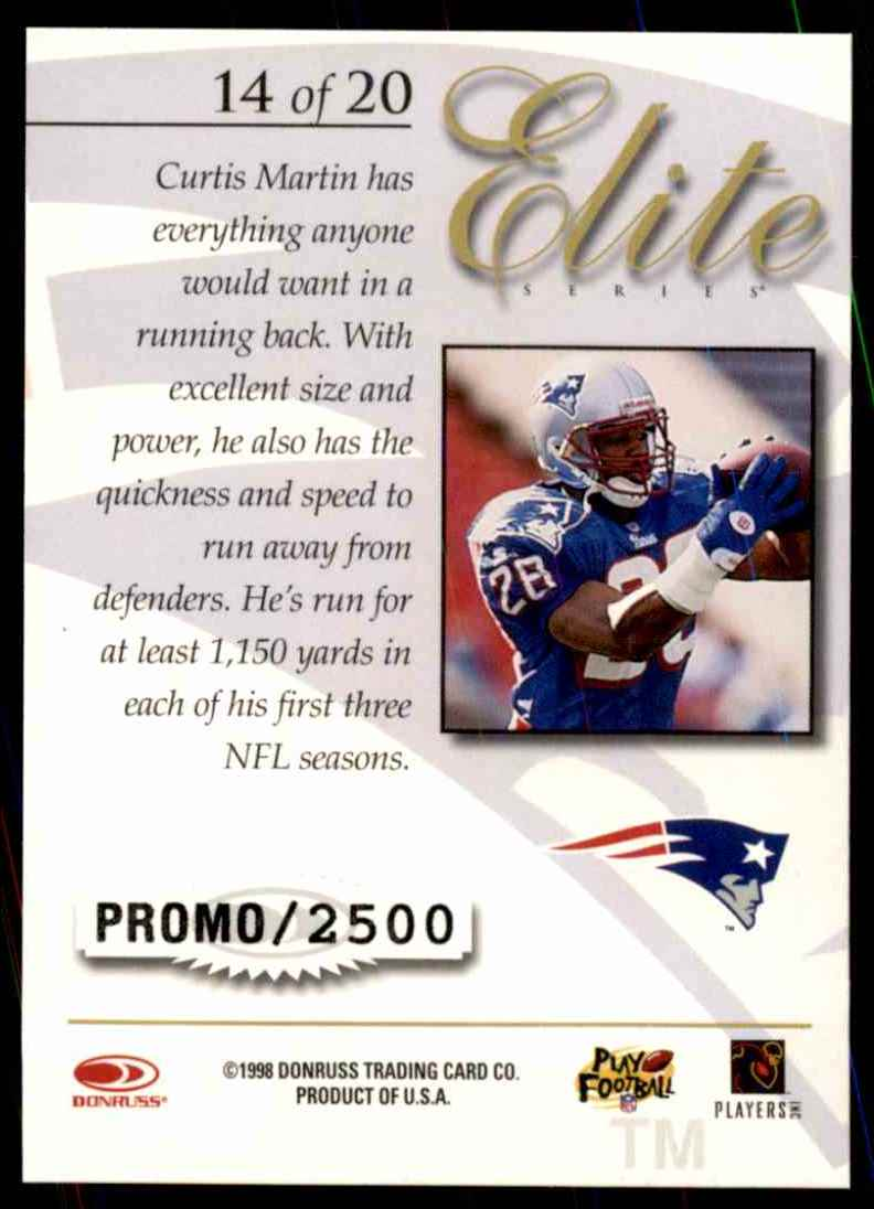 1997 Donruss Elite Promos Curtis Martin #4 card back image