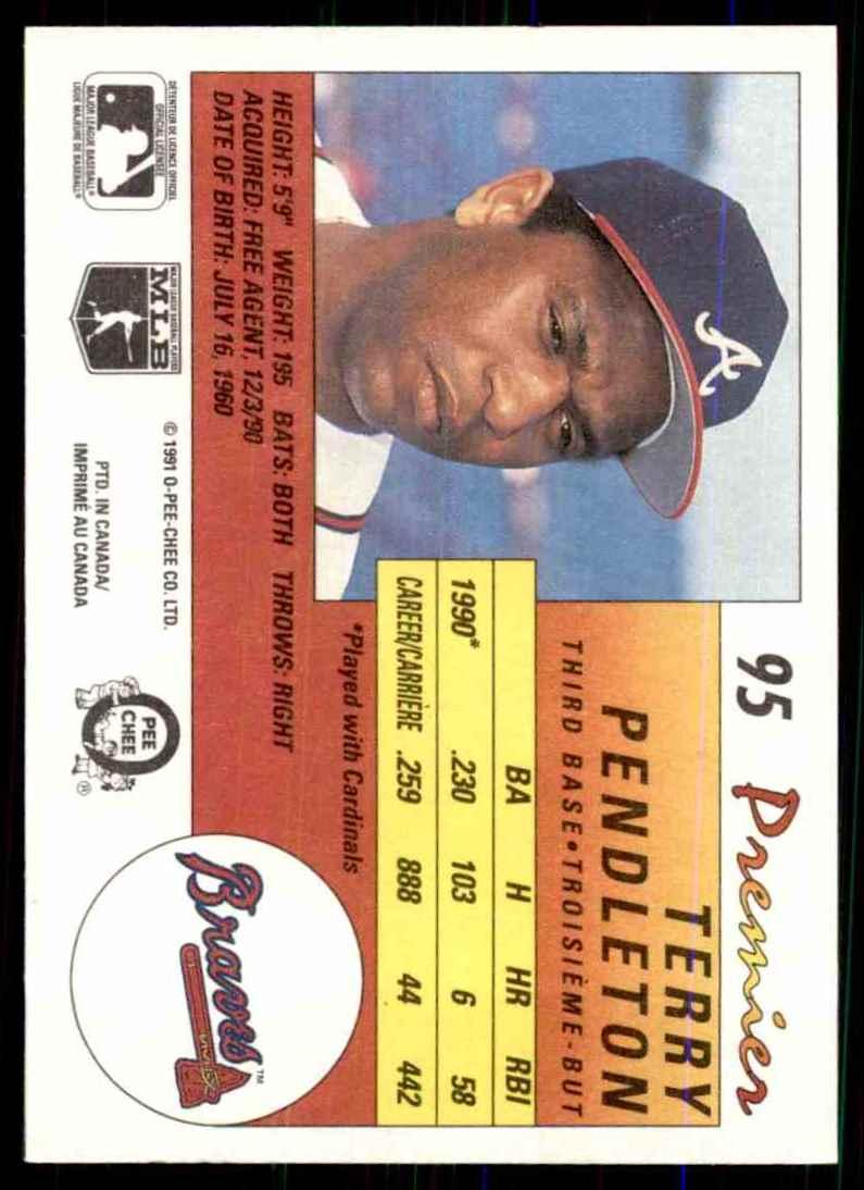 1991 O-Pee-Chee Premier Terry Pendleton #95 card back image