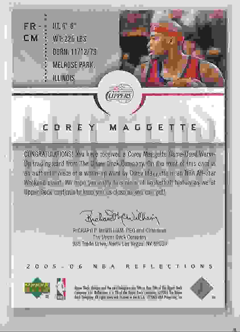 2005-06 Reflections Fabrics Corey Maggette #CM card back image
