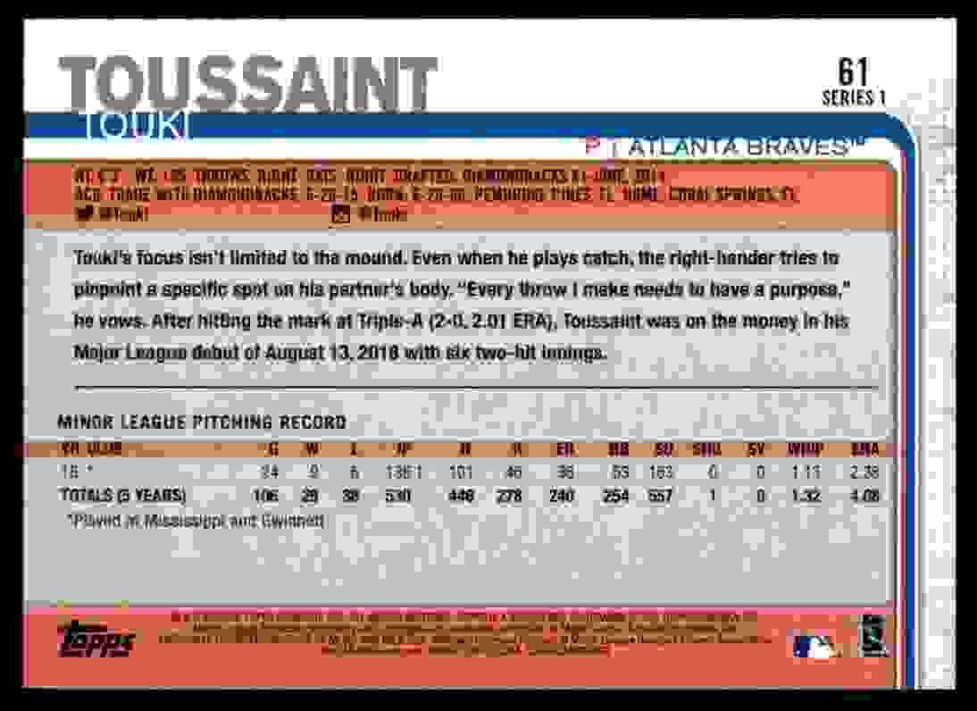 2019 Topps Touki Toussaint #61 card back image