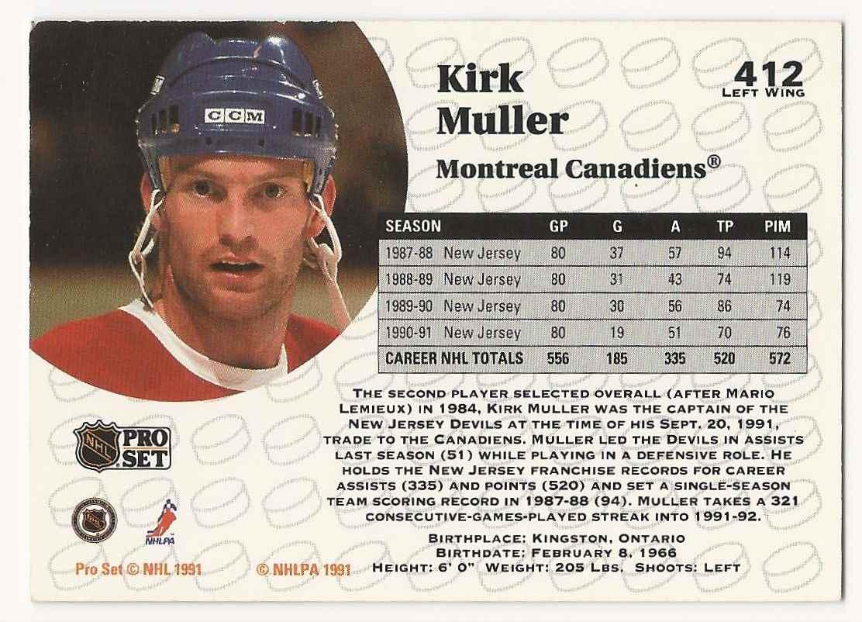 1991-92 Pro Set Kirk Muller #412 card back image